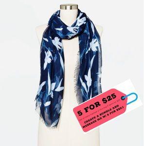 NWOT Blue Oblong Floral Scarf